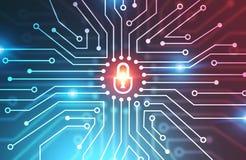 Concepto de la seguridad de Digitaces ilustración del vector