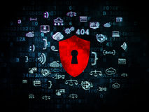 Concepto de la seguridad: Escudo con el ojo de la cerradura en Digitaces imagenes de archivo