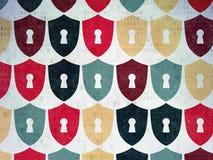 Concepto de la seguridad: Escudo con los iconos del ojo de la cerradura encendido Fotografía de archivo libre de regalías
