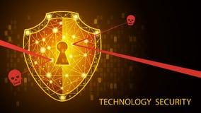 Concepto de la seguridad: Escudo en fondo de los datos digitales Ilustración ilustración del vector