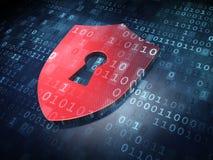Concepto de la seguridad: Escudo rojo con el ojo de la cerradura en fondo digital