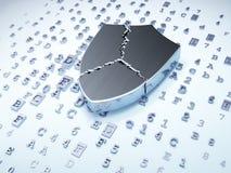 Concepto de la seguridad: escudo roto de plata en fondo digital Imagenes de archivo