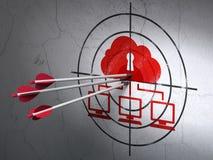 Concepto de la seguridad: flechas en blanco de la red de la nube encendido stock de ilustración