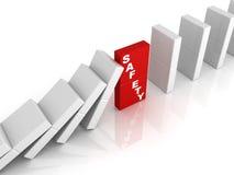 Concepto de la seguridad ilustrado por efecto de dominó Imágenes de archivo libres de regalías