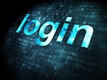 Concepto de la seguridad: inicio de sesión en fondo digital Imagen de archivo libre de regalías