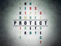 Concepto de la seguridad: la palabra protege en solucionar Imagen de archivo