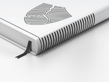 Concepto de la seguridad: libro cerrado, escudo roto en el fondo blanco Imagen de archivo libre de regalías