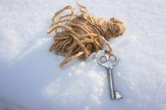 Concepto de la seguridad llave en una madeja Foto de archivo