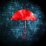 Concepto de la seguridad: Paraguas en fondo digital