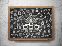 Concepto de la seguridad: Red de la nube en consejo escolar Imagen de archivo