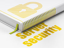 Concepto de la seguridad: reserve el candado cerrado, seguridad del servidor en blanco Imágenes de archivo libres de regalías