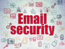 Concepto de la seguridad: Seguridad del correo electrónico en el papel de Digitaces Fotos de archivo