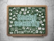 Concepto de la seguridad: Seguridad Social en fondo del consejo escolar ilustración del vector
