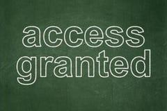 Concepto de la seguridad: Tenga acceso concedido en fondo de la pizarra fotos de archivo libres de regalías