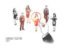 Concepto de la selección del candidato Vector drenado mano ilustración del vector