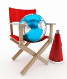 Concepto de la silla y del mundo del director Foto de archivo