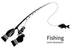 Concepto de la silueta del icono de la pesca libre illustration