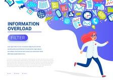 Concepto de la sobrecarga de información Mujeres jovenes que corren lejos de la corriente de la información que le persigue Conce libre illustration