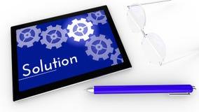Concepto de la solución en la tableta Foto de archivo