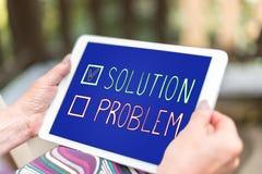Concepto de la solución en una tableta fotografía de archivo libre de regalías
