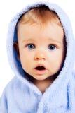 Concepto de la sorpresa - bebé con la cara sorprendente divertida Foto de archivo libre de regalías