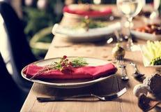 Concepto de la tabla de cena de la familia de la Navidad fotografía de archivo libre de regalías