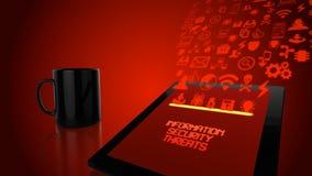 Concepto de la tableta de las amenazas de la seguridad de información en rojo Imágenes de archivo libres de regalías