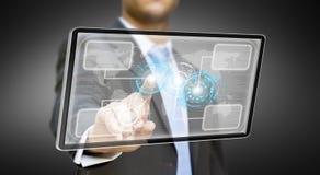 Concepto de la tableta del hombre de negocios Foto de archivo