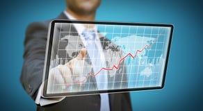Concepto de la tableta del hombre de negocios Imagen de archivo libre de regalías