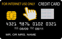 Concepto de la tarjeta de crédito para el uso del Internet solamente Imagen de archivo libre de regalías