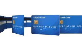 Concepto de la tarjeta de crédito que gira en el espacio