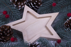 Concepto de la tarjeta de felicitación del día de fiesta del Año Nuevo de Navidad de la Navidad con los cinco conos señalados vac Imágenes de archivo libres de regalías