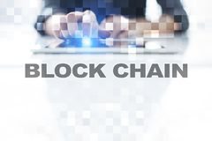 Concepto de la tecnología de Blockchain Transferencia monetaria de Internet Cryptocurrency imagenes de archivo