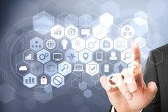 Concepto de la tecnología, de la comunicación y de la red imagen de archivo