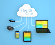 Concepto de la tecnología de ordenadores de la nube de la atención sanitaria Imagenes de archivo