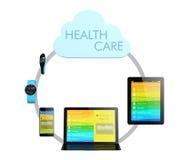 Concepto de la tecnología de ordenadores de la nube de la atención sanitaria Fotografía de archivo libre de regalías