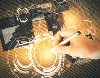 Concepto de la tecnología, del analytics y de la comunicación fotos de archivo