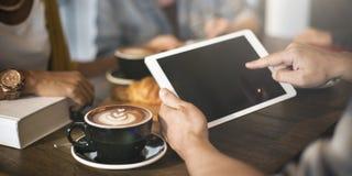 Concepto de la tecnología del capuchino del Latte del café de la cafetería imagen de archivo libre de regalías