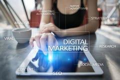 Concepto de la tecnología del márketing de Digitaces Internet En línea SEO SMM publicidad foto de archivo libre de regalías