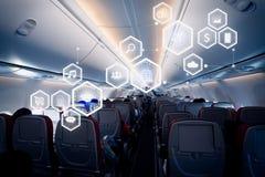 Concepto de la tecnología del negocio en el aeroplano foto de archivo