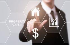 Concepto de la tecnología del negocio de Internet del mercado inmobiliario del valor de una propiedad foto de archivo libre de regalías