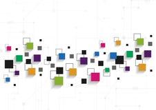 Concepto de la tecnología del vector Líneas y cuadrados conectados Fotografía de archivo