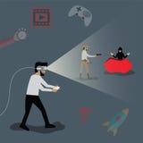 Concepto de la tecnología, hombre que juega al juego en vidrio de VR - vector Imagen de archivo libre de regalías