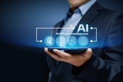 Concepto de la tecnología de Internet del negocio del aprendizaje de máquina de la inteligencia artificial Imagen de archivo