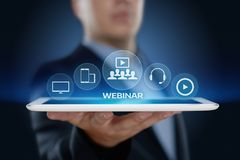 Concepto de la tecnología de Internet del negocio del entrenamiento del aprendizaje electrónico de Webinar Imagen de archivo libre de regalías