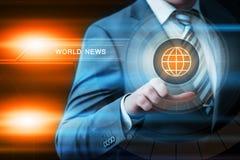 Concepto de la tecnología de Internet del negocio de la prensa de Digitaces de las noticias de mundo fotos de archivo libres de regalías