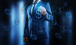 Concepto de la tecnología de las finanzas de las actividades bancarias del negocio de la moneda del dólar foto de archivo libre de regalías