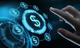 Concepto de la tecnología de las finanzas de las actividades bancarias del negocio de la moneda del dólar imagenes de archivo