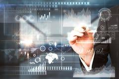 Concepto de la tecnología, de las finanzas y de la comunicación imagen de archivo