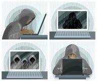 Concepto de la tecnología de seguridad informática de Internet del pirata informático Pirata informático con el ordenador portáti libre illustration